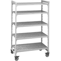 Cambro Camshelving Premium CPMU183667V5480 Mobile Shelving Unit with Premium Locking Casters 18 inch x 36 inch x 67 inch - 5 Shelf