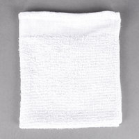 Choice 16 inch x 19 inch 18 oz. White 100% Cotton Ribbed Terry Bar Towel   - 12/Pack