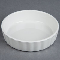 Tuxton BPK-0805 DuraTux 8 oz. Bright White Round Fluted China Creme Brulee Dish - 12/Case
