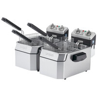 Waring WDF1500BD Double 15 lb. Commercial Countertop Deep Fryer Set - 208V