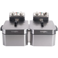 Waring WDF1500BD Double 15 lb. Commercial Countertop Deep Fryer Set - 208V