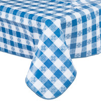 52 inch x 52 inch Blue Gingham Vinyl Table Cover with Flannel Back
