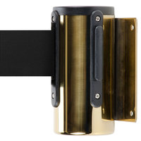 Brass Wall-Mount Stanchion with 7' Black Retractable Belt