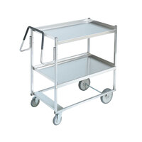 Vollrath 97200 Heavy-Duty Stainless Steel 2 Shelf Utility Cart - 39 inch x 20 inch x 44 1/2 inch