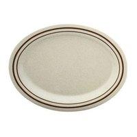 12 inch x 9 inch Beige Arcadia Oval Melamine Platter - 12/Case
