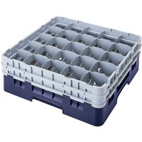 Cambro 25S800186 Camrack 8 1/2 inch High Navy Blue  25 Compartment Glass Rack