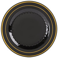 Fineline Silver Splendor 506-BKG 6 inch Black Plastic Plate with Gold Bands - 150 / Case