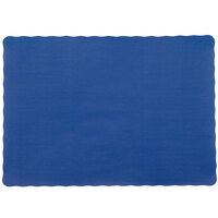 10 inch x 14 inch Navy Blue Colored Paper Placemat with Scalloped Edge - 1000 / Case