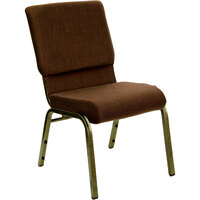 Brown Patterned 18 1/2 inch Wide Church Chair with Gold Vein Frame