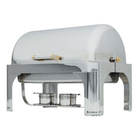 Vollrath 48780 9 qt. Silverplated New York, New York Roll Top Chafer Full Size with Brass Trim
