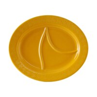 Tuxton BUZ-1444 DuraTux Mustard 14 1/2 inch x 12 1/8 inch Oval Divided China Platter 6/Case