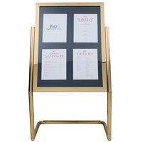 Aarco Brass 25 inch x 48 inch Double Pedestal Poster Stand