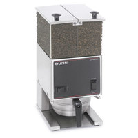 Bunn LPGE Low Profile 6 lb. Double Hopper Grinder with 4 inch Stainless Steel Legs - 120V (Bunn 26800.0001)