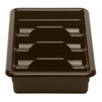 Cambro 1120CBP131 Dark Brown 4 Compartment Cutlery Box 11 inch x 20 inch