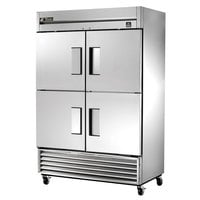 True TS-49F-4 54 inch Stainless Steel Two Section Solid Half Door Reach In Freezer - 49 Cu. Ft.