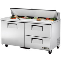 True TSSU-60-16D-2 60 inch Sandwich / Salad Prep Refrigerator with One Door and Two Drawers