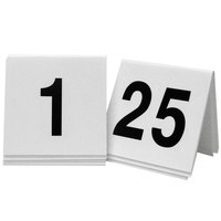 Cal-Mil 227 White/Black Double-Sided Number Tents 1-25 - 3 inch x 3 inch