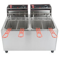 Cecilware EL2X25 Stainless Steel Electric Commercial Countertop Deep Fryer with Two 15 lb. Fry Tanks - 240V, 3200W