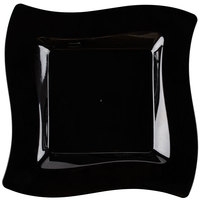 Fineline Wavetrends 110-BK 10 3/4 inch Black Plastic Square Plate - 10/Pack
