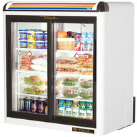 True GDM-9-LD White Countertop Two Section Display Refrigerator with Sliding Doors - 9 cu. ft.