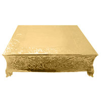 Tabletop Classics ACG-87718 18 inch Ornate Gold Plated Square Cake Stand