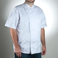 Chef Revival J005-4X Knife and Steel Size 60 (4X) White Customizable Short Sleeve Chef Jacket - Poly-Cotton Blend