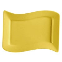 CAC SOH-51YW Color Soho 15 1/2 inch x 10 1/2 inch Yellow Rectangular Stoneware Platter - 12 / Case