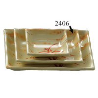 Gold Orchid 8 oz. Rectangular Melamine Wave Plate - 12 / Pack