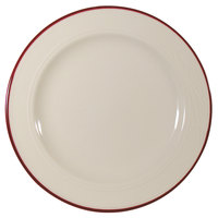 Homer Laughlin Lydia Maroon 9 inch Off White China Plate - 24/Case
