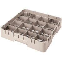 Cambro 16S800184 Camrack 8 1/2 inch High Beige 16 Compartment Glass Rack