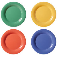 GET WP-7-MIX Diamond Mardi Gras 7 1/2 inch Wide Rim Round Melamine Plate, Assorted Colors - 48/Case