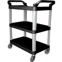 40 inch x 19 3/4 inch x 37 1/2 inch Black Three Shelf Utility Cart / Bus Cart