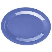 GET OP-950-PB Diamond Mardi Gras 9 3/4 inch x 7 1/4 inch Peacock Blue Oval Melamine Platter - 24/Case