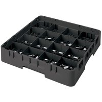 Cambro 16S318110 Camrack 3 5/8 inch High Black 16 Compartment Glass Rack