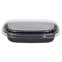 Genpak 55026 31 oz. Black 8 7/16 inch x 6 5/8 inch x 1 5/8 inch Dual Ovenable 1-Compartment Food Pan with Lid - 10/Pack