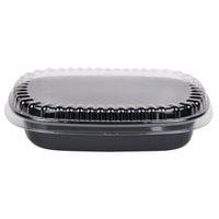 Genpak 55026 20 oz. Black 8 1/2 inch x 6 5/8 inch x 1 5/8 inch Dual Ovenable 1-Compartment Food Pan with Lid - 10 / Pack