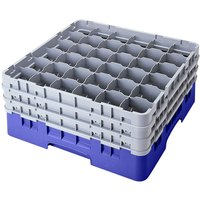Cambro 36S800168 Blue Camrack 36 Compartment 8 1/2 inch Glass Rack