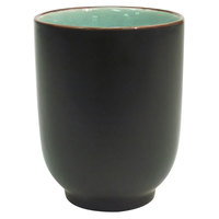 CAC 666-1-BLU Japanese Style 8 oz. China Cup - Black Non-Glare Glaze / Lake Water Blue - 36/Case