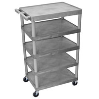 Luxor / H. Wilson BC55 Gray 5 Shelf Serving Cart - 24 inch x 32 inch x 49 inch