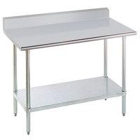 "Advance Tabco KSLAG-303-X 30"" x 36"" 16 Gauge Stainless Steel Work Table with Undershelf and Backsplash"