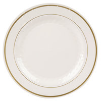 WNA Comet MP75IPREM 7 1/2 inch Ivory Masterpiece Plastic Plate with Gold Accent Bands - 150 / Case