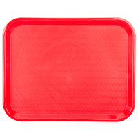 Carlisle CT141805 Customizable Cafe 14 inch x 18 inch Red Standard Plastic Fast Food Tray - 12 / Case