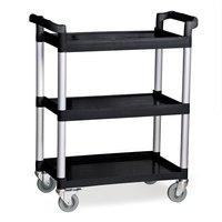 Three Shelf Utility Cart / Bus Cart - Black 33 1/4 inch x 17 inch x 37 3/8 inch