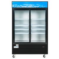 Avantco GDS47 53 inch Black Sliding Glass Door Merchandiser Refrigerator with LED Lighting - 45 cu. ft.