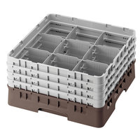 Cambro 9S318167 Brown Camrack 9 Compartment 3 5/8 inch Glass Rack