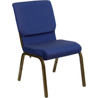 Navy Blue Dot Patterned 18 1/2 inch Wide Church Chair with Gold Vein Frame