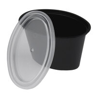 Newspring E504B ELLIPSO 4 oz. Black Oval Plastic Souffle / Portion Cup with Lid 500/Case
