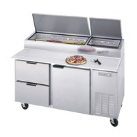 Beverage Air DPD119-2 119 inch Pizza Prep Table with Three Doors and Two Drawers