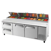 Turbo Air TPR-93SD-D2 93 inch Pizza Prep Table with Two Doors and Two Drawers