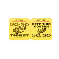Yellow 50/50 Marquee Raffle Tickets - 1000 / Roll